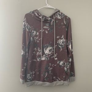 NWOT 12 PM by Mon Ami Floral Hooded Sweatshirt